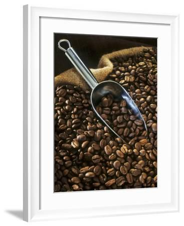 Coffee Beans with Metal Scoop in Sack-Vladimir Shulevsky-Framed Photographic Print