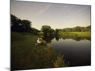 Fishing in a Peaceful Setting--Mounted Photographic Print