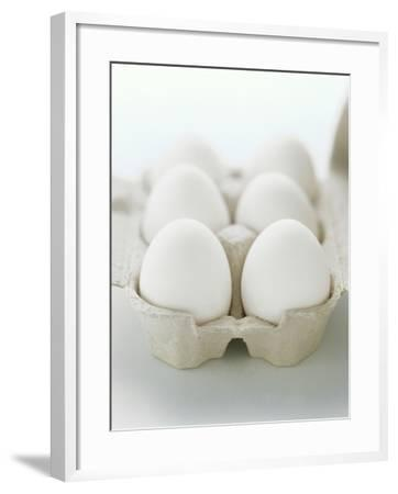 A Carton of Six White Eggs--Framed Photographic Print
