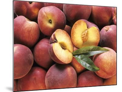 Many Whole Peaches with One Halved--Mounted Photographic Print
