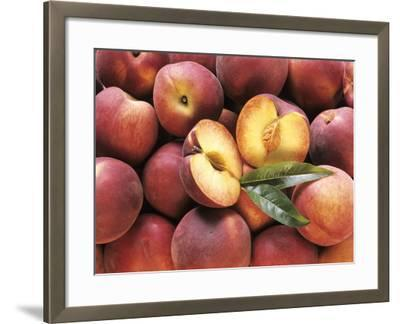Many Whole Peaches with One Halved--Framed Photographic Print