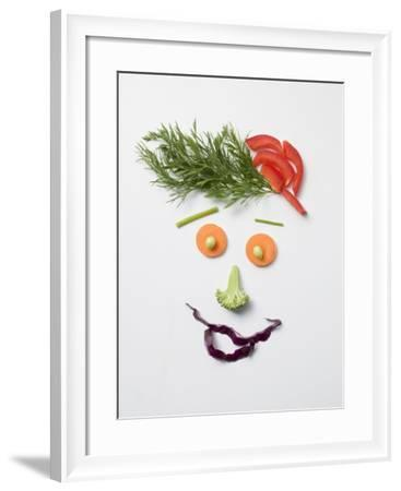 Amusing Face Made from Vegetables and Dill--Framed Photographic Print