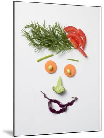 Amusing Face Made from Vegetables and Dill--Mounted Photographic Print