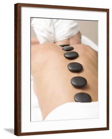 Woman Having Lastone Therapy (Healing Therapy Using Stones)--Framed Photographic Print