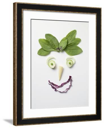 Vegetable Face with Spinach Hair--Framed Photographic Print