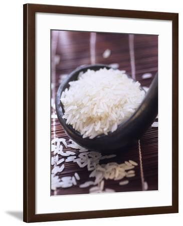 A Ladle of Uncooked Long Grain White Rice--Framed Photographic Print