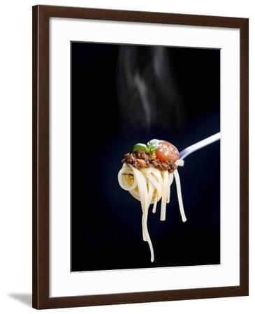 Linguine with a Minced Meat Sauce, Tomatoes and Basil on a Fork-Mark Vogel-Framed Photographic Print