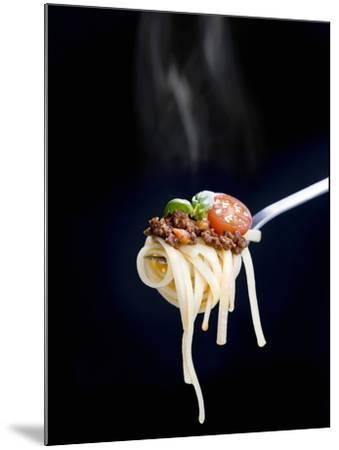 Linguine with a Minced Meat Sauce, Tomatoes and Basil on a Fork-Mark Vogel-Mounted Photographic Print