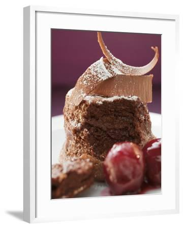 Chocolate Soufflé with Chocolate Curls and Cherries--Framed Photographic Print