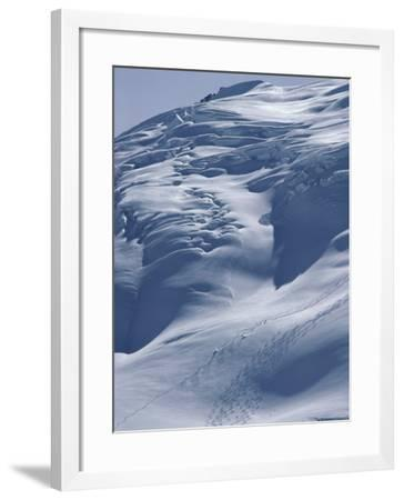 Aerial View of Three Skiers--Framed Photographic Print
