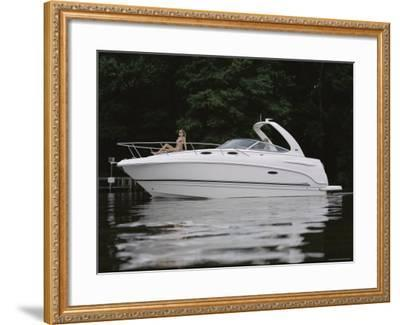 Three Adults on a Yacht--Framed Photographic Print
