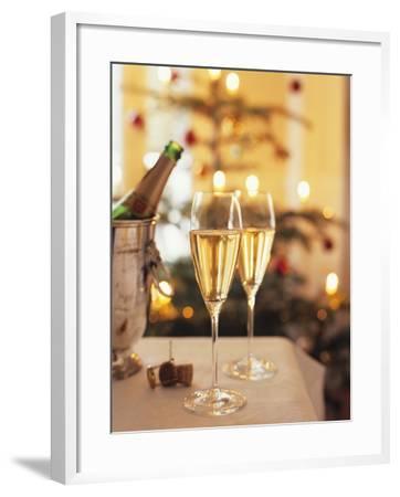 Two Glasses of Sparkling Wine for Christmas Party-Joerg Lehmann-Framed Photographic Print