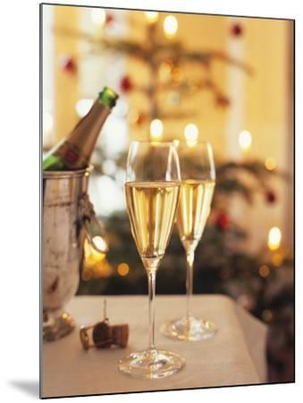 Two Glasses of Sparkling Wine for Christmas Party-Joerg Lehmann-Mounted Photographic Print
