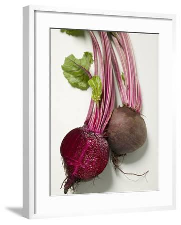 Beetroot with Leaves, One Halved, Close-Up--Framed Photographic Print
