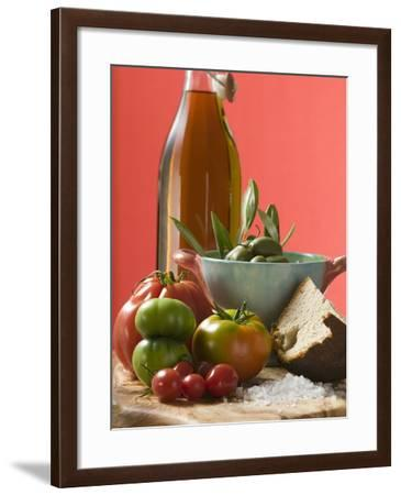 Fresh Tomatoes, Olives, Bread, Salt and Olive Oil--Framed Photographic Print
