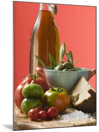Fresh Tomatoes, Olives, Bread, Salt and Olive Oil--Mounted Photographic Print