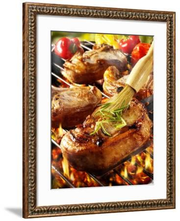 Brushing Pork Chop on Barbecue Rack with Oil-Paul Williams-Framed Photographic Print