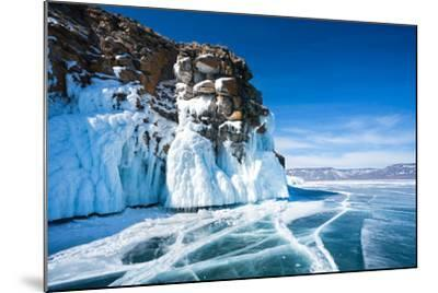 Baikal Lake. Ice and Icicles on a Rocky Island in Sunny Day-katvic-Mounted Photographic Print