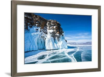 Baikal Lake. Ice and Icicles on a Rocky Island in Sunny Day-katvic-Framed Photographic Print