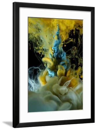 Blue and Yellow Liquid Colors on Black Background-sanjanjam-Framed Photographic Print