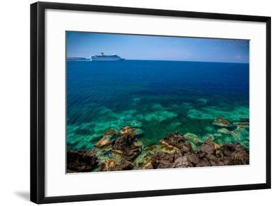 Cruise Ship beyond Reef-EvanTravels-Framed Photographic Print