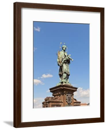 Statue of St. John of Nepomuk on Charles Bridge in Prague- joymsk-Framed Photographic Print