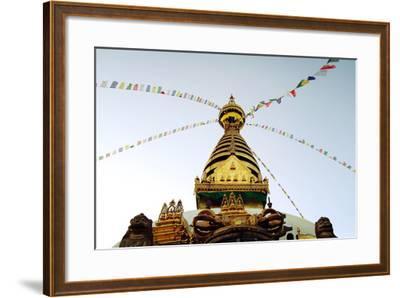 Buddhist Shrine Swayambhunath Stupa - Vintage Filter.-lora_sutyagina-Framed Photographic Print