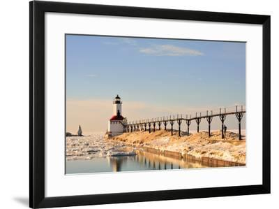 Lighthouse on Sunny Winter Day with Man Running- ErynnZ-Framed Photographic Print