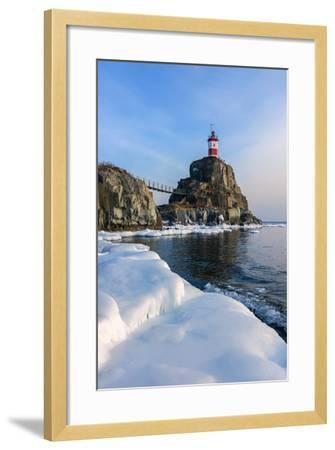Winter Picture Lighthouse on a Lonely Rock.- vladsv-Framed Photographic Print