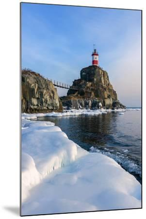 Winter Picture Lighthouse on a Lonely Rock.- vladsv-Mounted Photographic Print
