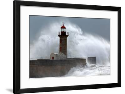 Huge Wave over Lighthouse-Zacarias da Mata-Framed Photographic Print
