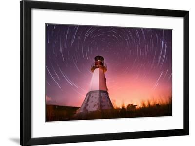 Lighthouse with Night Sky at Background Stars Trails- Q-lieb-in-Framed Photographic Print