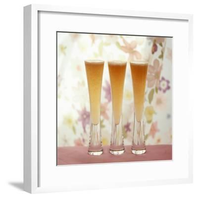 Three Glasses of Bellini (Sparkling Wine with Peach Juice)-Michael Paul-Framed Photographic Print