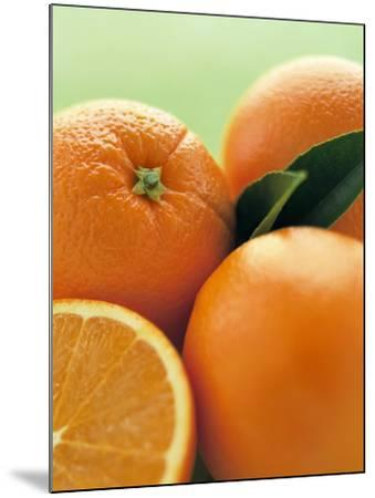 Oranges with Leaves Close Up-Leigh Beisch-Mounted Photographic Print