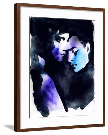 Beautiful Woman and Man. Hand Painted Fashion Illustration-Anna Ismagilova-Framed Photographic Print