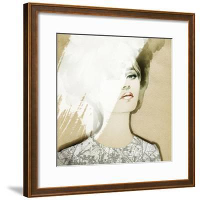 Woman Portrait .Abstract Watercolor .Fashion Background-Anna Ismagilova-Framed Photographic Print