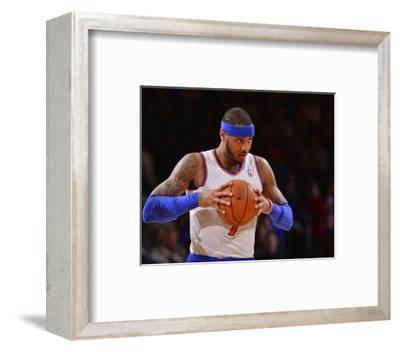 Jan 24, 2014, Charlotte Bobcats vs New York Knicks - Carmelo Anthony-David Dow-Framed Photo