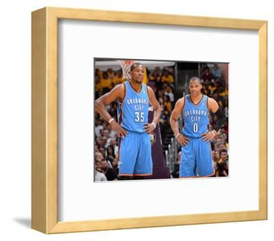 Mar 9, 2014, Oklahoma City Thunder vs Los Angeles Lakers - Kevin Durant, Russell Westbrook-Andrew Bernstein-Framed Photo