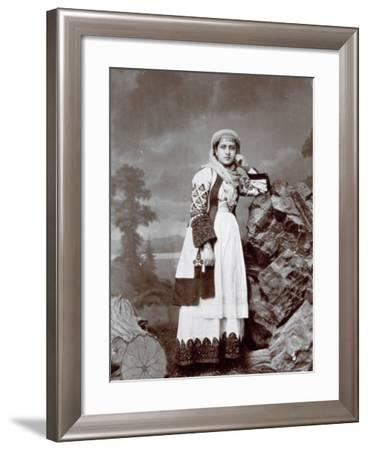 Full-Length Portrait of a Young Greek Woman in Traditional Attire. She is Wearing a Veil--Framed Photographic Print