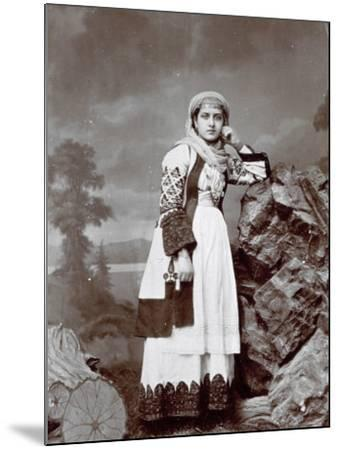 Full-Length Portrait of a Young Greek Woman in Traditional Attire. She is Wearing a Veil--Mounted Photographic Print