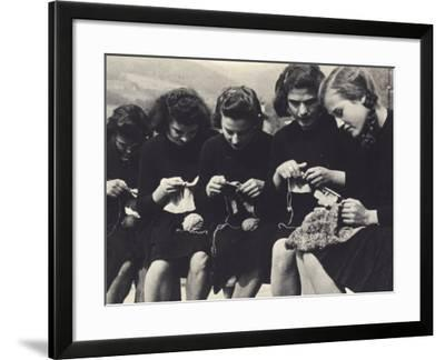 Young Women Knitting-A^ Villani-Framed Photographic Print