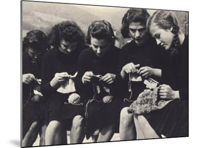 Young Women Knitting-A^ Villani-Mounted Photographic Print