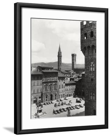 Piazza Della Signoria in Florence with the Belltower of the Badia Fiorentina and the Bargello Tower-Vincenzo Balocchi-Framed Photographic Print