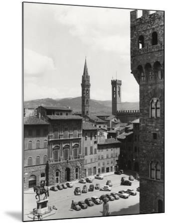 Piazza Della Signoria in Florence with the Belltower of the Badia Fiorentina and the Bargello Tower-Vincenzo Balocchi-Mounted Photographic Print