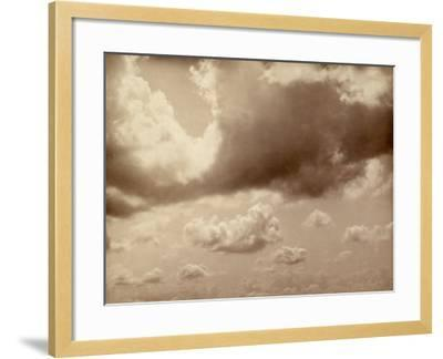Stretch of Sky with Large Clouds. the Silhouette of the Hills Can be Made out Below--Framed Photographic Print
