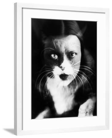 Me and Cat', Two Superimposed Photos of Wanda Wulz and of Her Cat-Wanda Wulz-Framed Photographic Print
