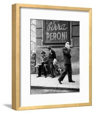 Men in a Street of Napoli--Framed Photographic Print