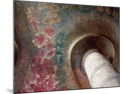 """Columna Y Decoración Floral En El Techo del Vestíbulo, La Pedrera, """"Casa Milà"""" Barcelona--Mounted Photographic Print"""