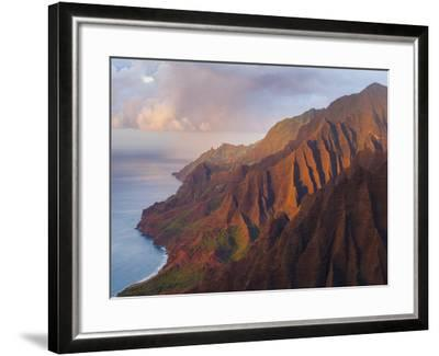 The Fluted Cliffs of the Na Pali Coast at Sunset, Kauai, Hawaii.-Ethan Welty-Framed Photographic Print