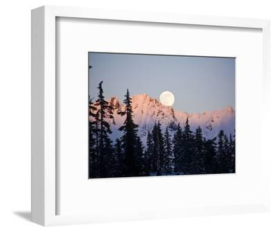 Moonrise over the North Cascades at Sunset, as Seen from Mount Baker, Washington.-Ethan Welty-Framed Photographic Print